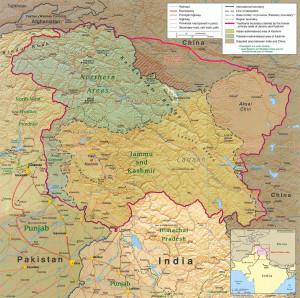 Mapa území Kašmíru