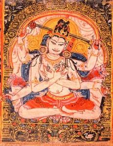 Malba Avalókitéšvary ze sanskrtského rukopisu na palmovém listu, Indie, 12. století.