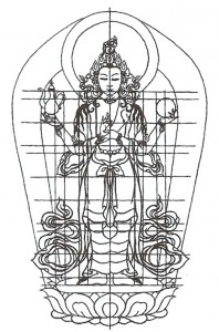 Nákres sochy Avalokitéšvary v Ulaanbaataru