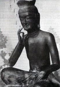 Buddha Maitréja jako Miroku Bosacu, 6. stol. n. l., chrám Kórjúdži v Kjótu, Japonsko.