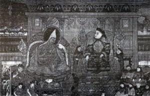 Z audience 5. dalajlamy u čínského císaře Šun-č' v Pekingu v roce 1652. (Nástěnná malba v Potále; z archivu J. Kolmaše)
