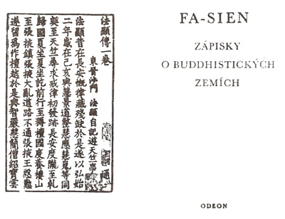 Titulní list českého překladu Fa-sienova Fo-kuo ťi (414).
