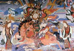 Nástěnná malba zobrazující krále Gesera z Lingu. Autor: Gruschke - anonymní tibetský malíř.