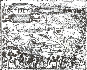 Tzv. Velký Tibet včetne provincií Amdo a Kham v idealizovaném ztvárnění A. Jennings-Brownové, 1983. (Z archívu J. Kolmaše).