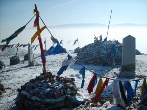 Vrcholek hory Čingeltej - jedné ze čtyř posvátných hor v Ulaanbaataru.