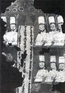 Manichejští písaři svatých spisů, kartuš s mladším sogdským písmem. Nález z 8.-9. stol., Qočo v Sin-ťiangu.