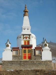 Buddhistická stupa s očima Avalokitéšvary v Ulaanbaataru