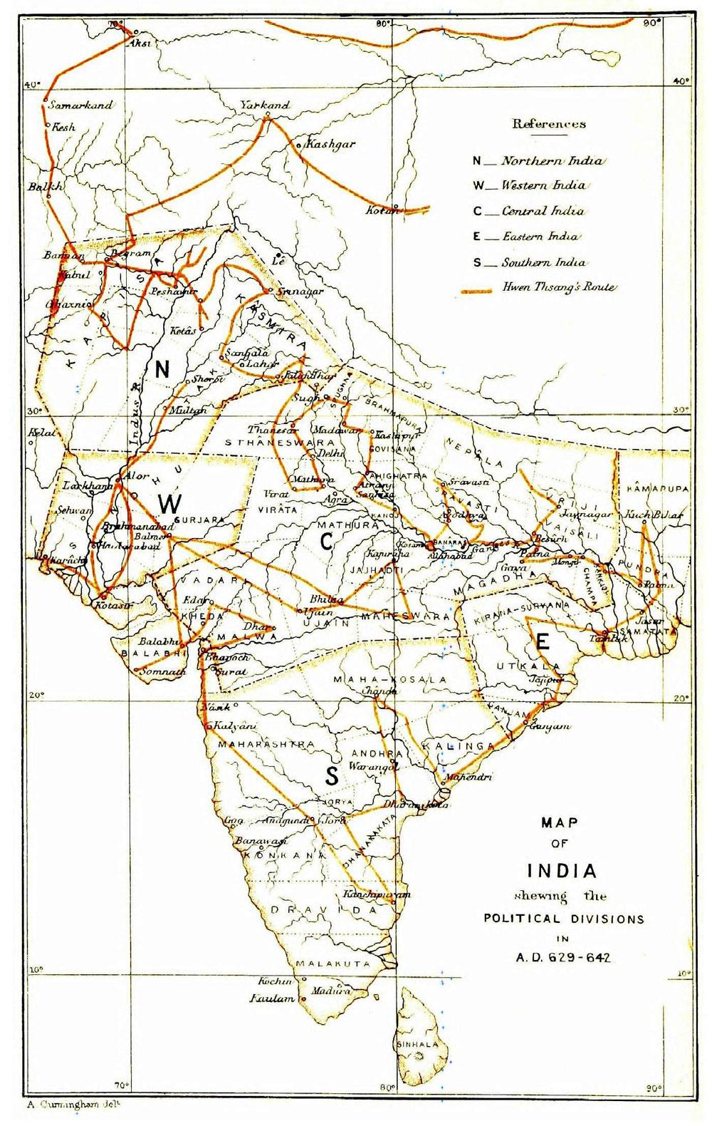 Süan Cangova cesta - mapa