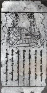 Příprava ke spálení Buddhova těla. Miniatura z ujgurského textu. Dřevotisk z 9. stol., Turfan v Sin-ťiangu.