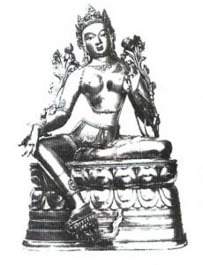 Zelená Tára (pozlacený bronz).