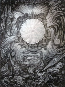 "J. Skřivánek: ""Zrcadlo meditace"", olej na plátně, 120x 80 cm."