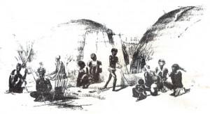 Zuluská vesnice (kraal) - rytina z 19.stol.
