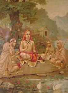 Šankara se svými žáky od malíře Raja Ravi Varmy (1904)